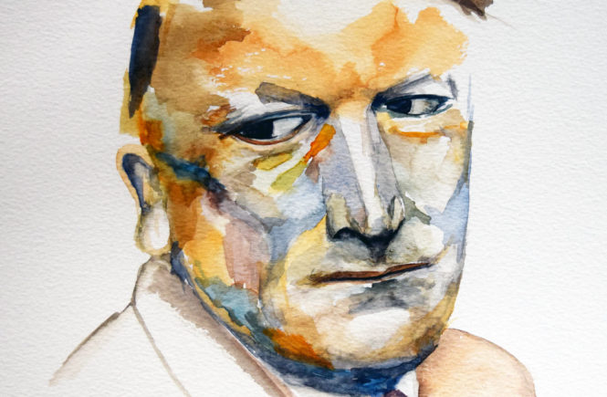 George Schrimpf, watercolour, 2018, by Christopher P Jones