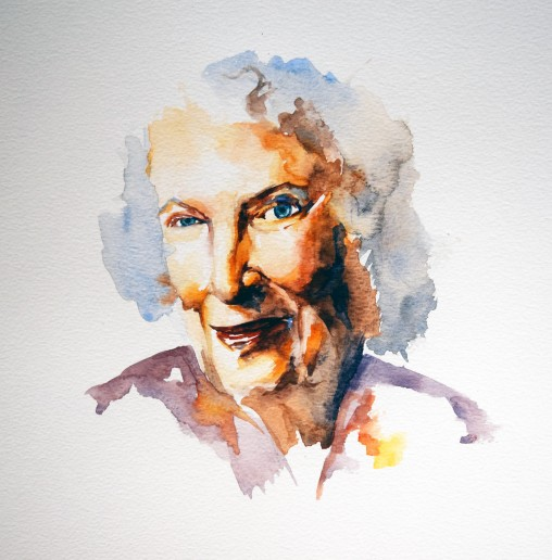 Margaret Atwood, watercolour, 2018, by Christopher P Jones
