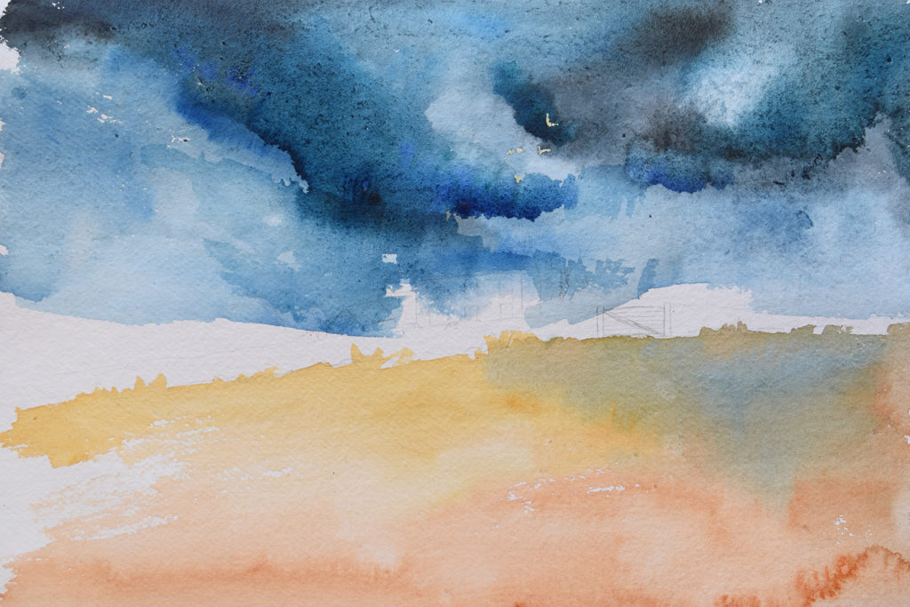 Painting a stormy sky watercolour tutorial wet-in-wet