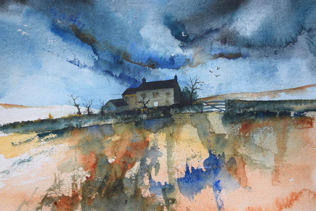 Farmhouse cottage in storm watercolor tutorial