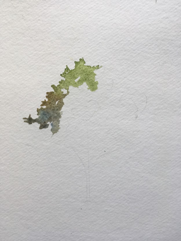 How to paint a tree in watercolours step 1