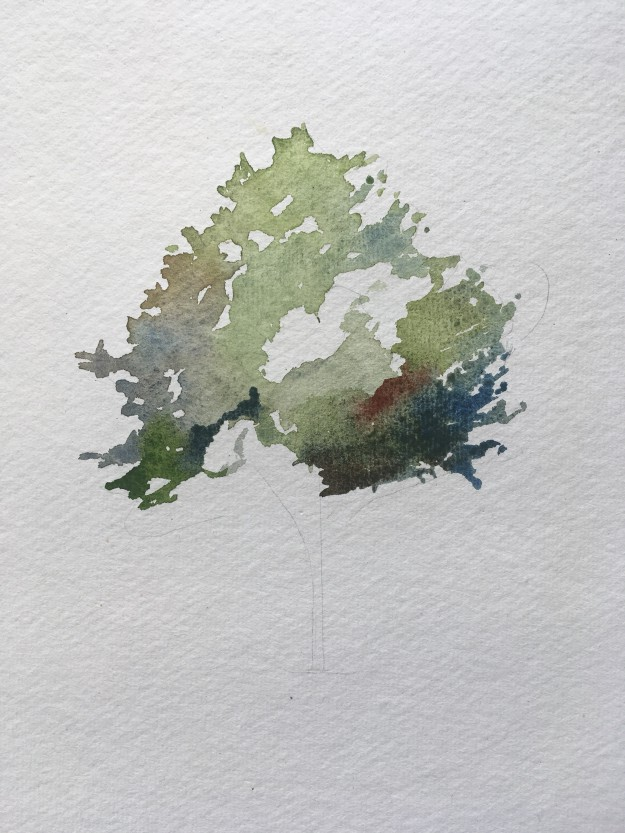 How to paint a tree in watercolours step 3