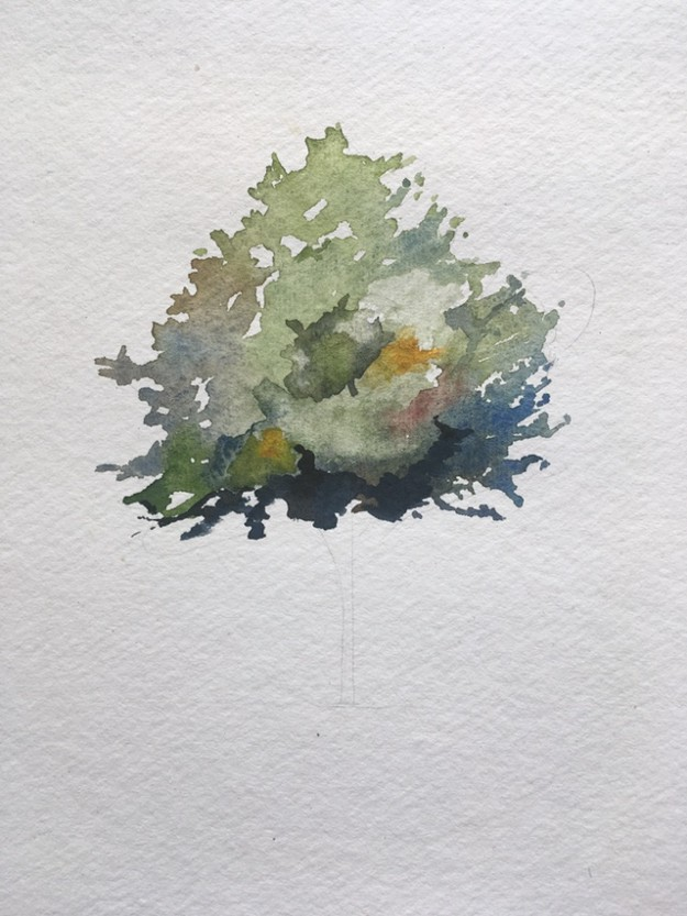 How to paint a tree in watercolours step 4